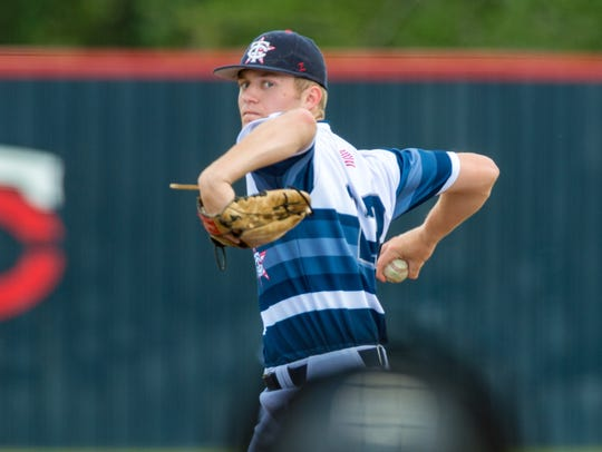 Teurlings Catholic pitcher Peyton Lejeune is shown on the mound during a game last season against St. Thomas More.