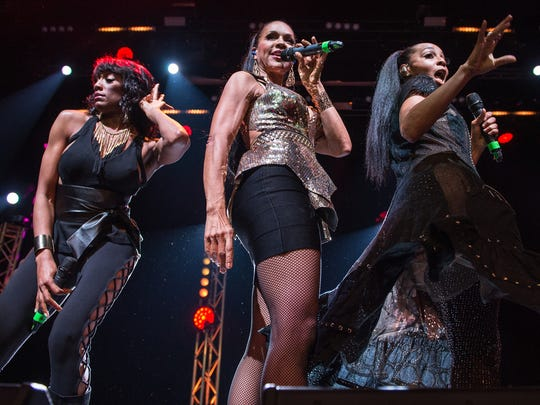 Rhona Bennett, Cindy Herron and Terry Ellis of En Vogue perform perform at O2 Indigo on Tuesday, in London.