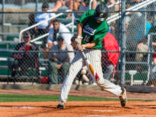 Tyler LeBlanc at the plate as Lafayette High host Acadiana