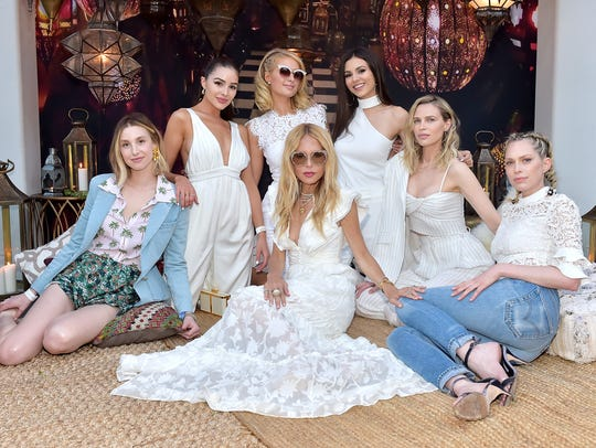 Rachel Zoe in the center surrounded by Whitney Port, Paris Hilton and other celebrities at the ZOEasis 2018 party at Parker Palm Springs on April 13, 2018 in Palm Springs, California.