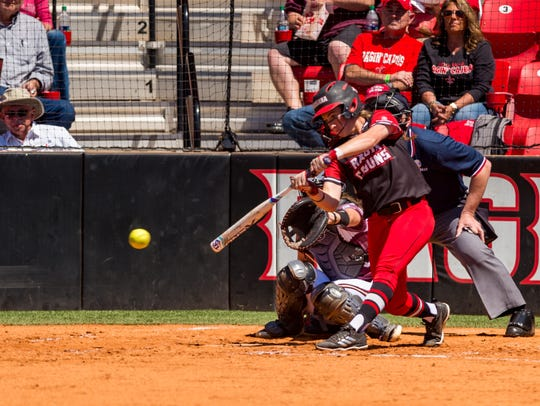 UL's Kara Gremillion singled in the crucial two-run first inning of the Cajuns' 3-1 win over Texas State on Monday at Lamson Park.
