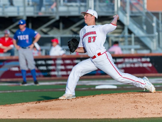 UL starter Austin Perrin lasted just 2.1 innings in Wednesday night's 15-2 non-conference loss to Louisiana Tech.