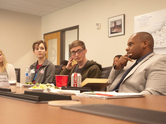 Interim Kentucky State Commissioner of Education, Dr. Wayne Lewis, right, meets with student members of the Commissioner's Student Council (CSC.)