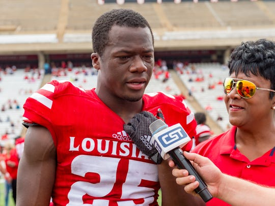 Safety Deuce Wallace is interviewed after UL's 2018 spring game.