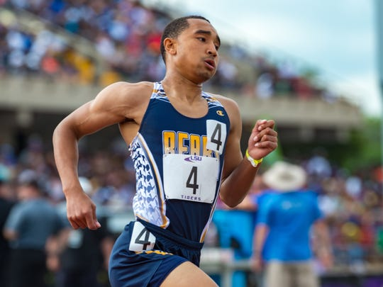Rashid Reese runs the boys 800 m run at the LHSAA State Track Meet at LSU's Bernie Moore Track Stadium. Saturday, May 5, 2018.