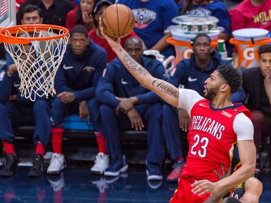 Anthony Davis takes it to the basket as The New Orleans Pelicans take on the Golden State Warriors for game 4 of the 2018 NBA playoffs in the Smoothie Center. Sunday, May 6, 2018.