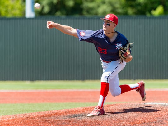 Teurlings Catholic's Peyton LeJeune throws a complete-game, four-hitter in the semifinals win over Parkview Baptist on Thursday in Sulphur.