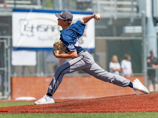 Drew McDaniel on the mound as STM takes on University High in the LHSAA Div. II State Semi Finals. Thursday, May 10, 2018.