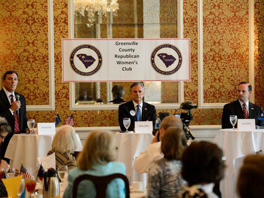 South Carolina attorney general candidates Todd Atwater, William Herlong and Alan Wilson during a Greenville County Republican Women's Club event at the Poinsett Club on Thursday, May 17, 2018.