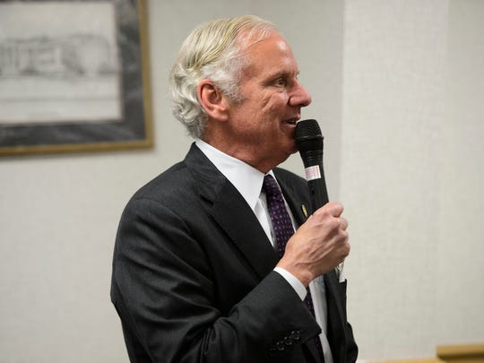Gov. Henry McMaster speaks during the Greenville County Law Enforcement Appreciation Breakfast at Tommy's Country Ham House on Friday, May 18, 2018.