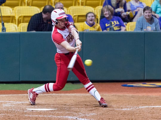 Casidy Chaumont at the plate as the Louisiana Ragin Cajuns take on the Houston Cougars in the NCAA Div 1 softball tournament. Friday, May 18, 2018.