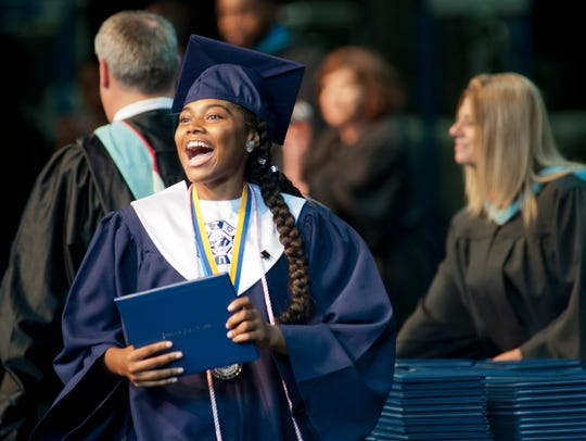Iroquois High School senior Nylea Robinson celebrates