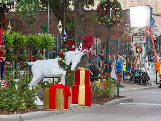 Christmas decorations  as film crew shoots movie in