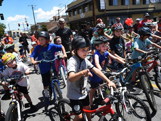Young racers line up for the kid's race during the Tour de Nez bike race in Reno on June 13, 2015.
