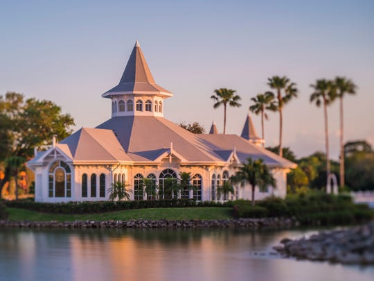 Disney's Wedding Pavilion, located on a private island accessible by footbridge at the Grand Floridian Resort & Spa, is the elaborate Victorian chapel that is the most popular location for Disney weddings because if its location.