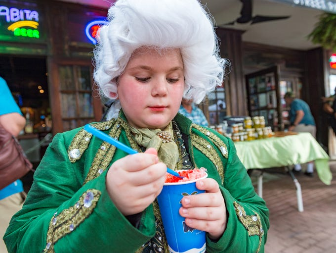 Wyatt Edwards dressed in King Loui costume to at the