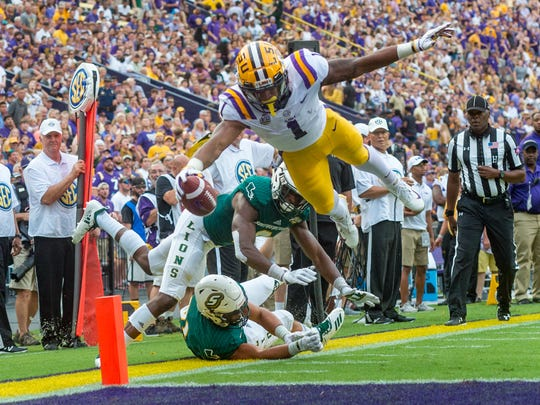 Tigers wide receiver Ja'Marr Chase dives into the endzone to score as The LSU Tigers take on Southeastern Louisiana Lions. Saturday, Sept. 8, 2018.