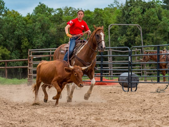Grace Dubois in the practice arena on Aug. 16.