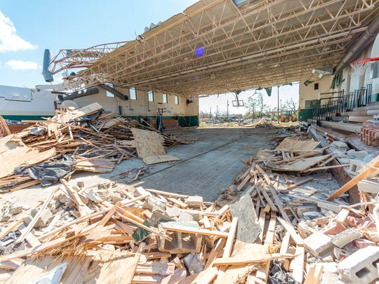 Jinks Elementary School gym in Panama City, FL. destroyed by Hurricane Michael.  Sunday, Oct. 14, 2018.