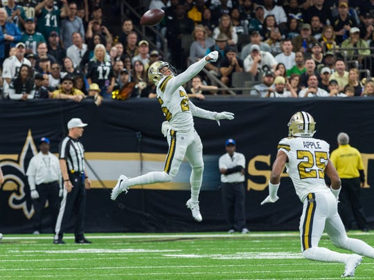 Saints cornerback P.J. Williams breaks up a pass during the NFL football game between the New Orleans Saints and the Philadelphia Eagles on Sunday, Nov. 18, 2018.