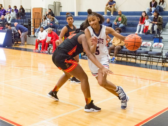LCA's Tamera Johnson drives to the basket during Wednesday's game against Brusly in the LCA Showcase Classic.