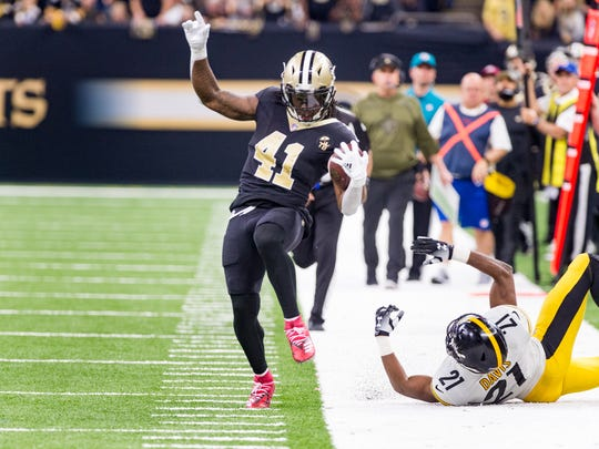 If the NFL went back to its instant replay roots, it would only take one or two quick looks at if a player steps out of bound, like ALvin Kamara tries to avoid doing on this play. If it's not obvious, the call on the field stands.