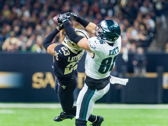 New Orleans Saints corner back Marshon Lattimore makes an interception during the NFC divisional playoff game against the Philadelphia Eagles on Jan. 13.