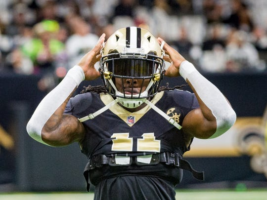 Alvin Kamara during pregame before the NFC divisional playoff football game between the New Orleans Saints and the Philadelphia Eagles on Sunday, Jan. 13, 2019 in New Orleans. Sunday, Jan. 13, 2019.