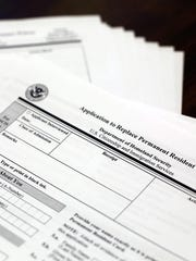 Some immigration forms that Sylvia Chapa and her staff