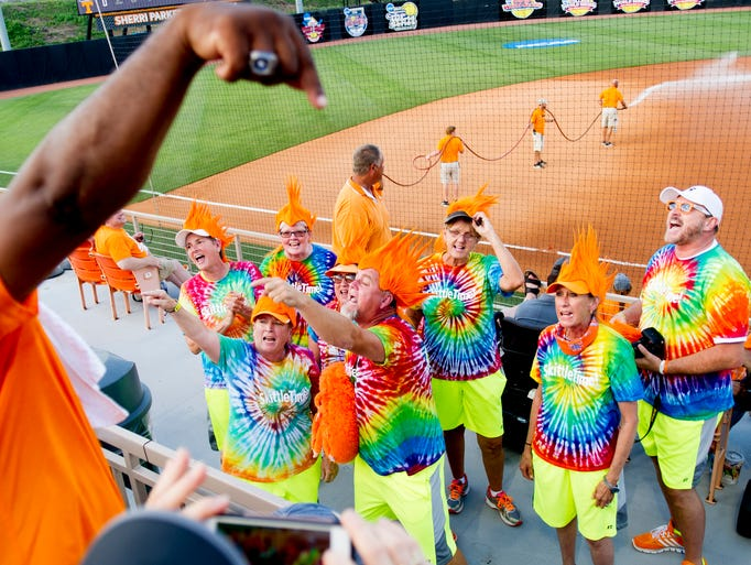 The Lady Vols Locos pump up the crowd during an NCAA