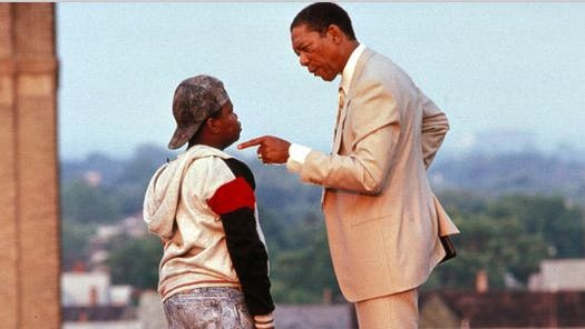 """No-nonsense Principal Joe Clark (Morgan Freeman) is charged with shaping up Eastside High in """"Lean on Me."""""""