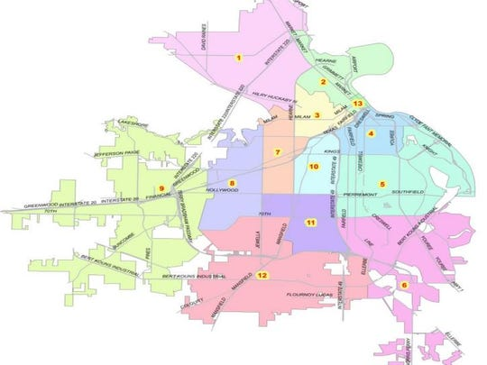 Shreveport is divided into 13 districts.