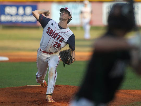 Wakulla Christian's Jacob Dismuke pitches against Eagle's View in a Region 1-2A semifinal, throwing a four-inning no-hitter with eight strikeouts in a 15-0 win.