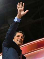 Wisconsin Gov. Scott Walker waves to the audience July