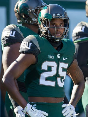 MSU sophomore receiver Darrell Stewart Jr. (25) will begin the season as the Spartans' punt and kick returner, hoping to give MSU the zest it hasn't had at that position in six years.
