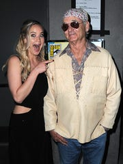 Actress Jennifer Lawrence (L) poses with actor Bill Murray backstage at the Open Road panel during Comic-Con International 2015 at the San Diego Convention Center on July 9, 2015 in San Diego, California.