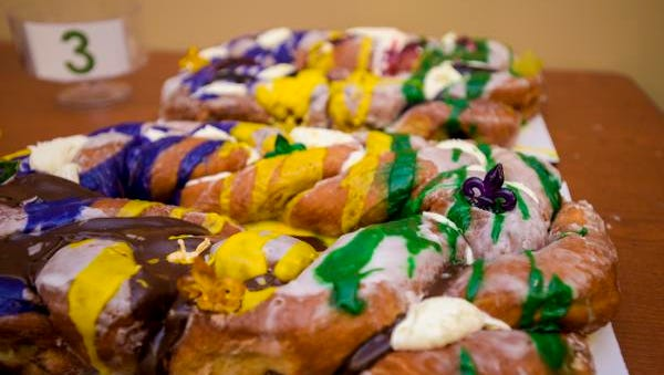 A king cake with chocolate icing from Rickey Meche's Donut King is pictured at the Daily Advertiser in Lafayette, LA, Wednesday, Jan. 21, 2015.