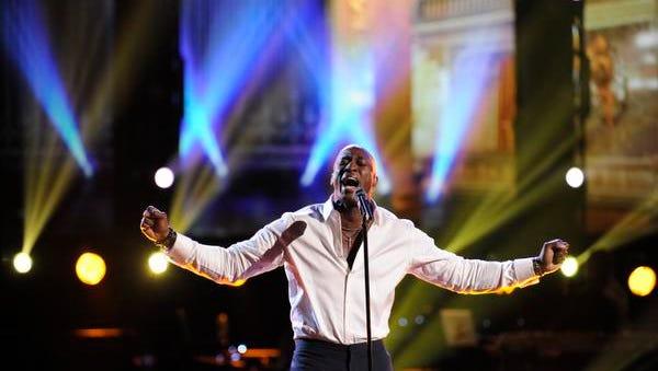 "Season:2 THE VOICE -- Episode 214 ""Live Show"" -- Pictured: Jermaine Paul -- (Photo by: Lewis Jacobs/NBC) [Via MerlinFTP Drop]"