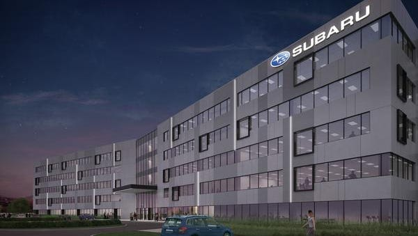 A rendering shows Subaru of America headquarters, expected to rise in Camden by the end of 2017.