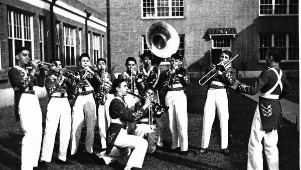 Members of Leon High School's marching band practice in either 1940 or 1941.