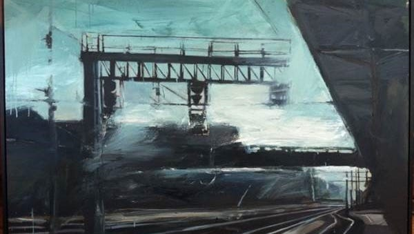 """""""Lucca Tracks"""" by Charles Goolsby is a 50-by-74-inch oil-on-canvas work up for auction at the annual NEXT gala."""