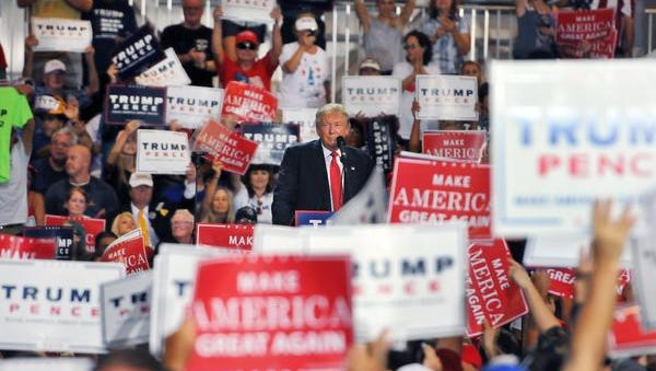 Republican nominee Donald Trump during a rally held at the AeroMod International aircraft hangar at the Orlando Melbourne International Airport.