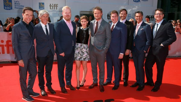 """Mark Ciardi, second from the right, with the cast of """"Chappaquiddick"""" at the Toronto Film Festival. Ciardi has two films debuting in theaters across the United States this weekend. The other, """"The Miracle Season,"""" stars Helen Hunt and William Hurt."""
