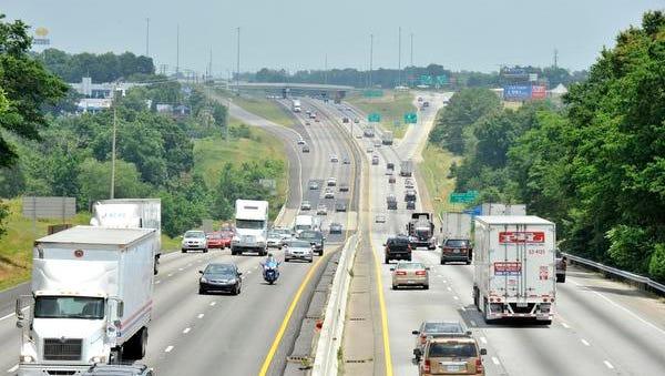 Vehicles travel along Interstate 85 in between Pelham Rd., and Highway 14 in Greer.
