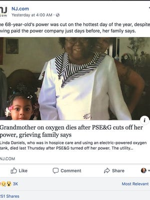 A Facebook post from NJ.com says that a utility company cut off Linda Daniels' power on the hottest day of the year. Daniels died soon after the power was cut.