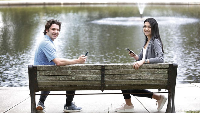 Desmond Herzfelder, 19, of Cohasset, a Harvard freshman, and Sarah Mansour, 18, of Newton, a Brown freshman, created a website to help people learn Zoom. Monday, May 18, 2020 Greg Derr/The Patriot Ledger
