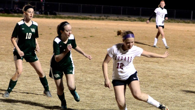 Jadelyn Talley (12) and the Stuarts Draft Cougars enter the Shenandoah District girls soccer tournament Tuesday night as the top seed.