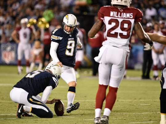 San Diego Chargers kicker Nick Novak (9)  kicks a 55-yard field goal while playing the Arizona Cardinals during the first half of an NFL preseason football game Thursday, Aug. 28, 2014, in San Diego. (AP Photo/Denis Poroy)