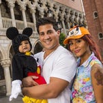 """Nicole """"Snooki"""" Polizzi with her fiance, Jionni LaValle, and their 1-year-old son, Lorenzo, inside the Italy pavilion in the Epcot theme park in 2013 at Walt Disney World in Lake Buena Vista, Fla."""