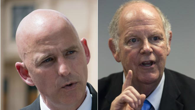 In a possible preview of their remaining campaigns, Paul Babeu and Tom O'Halleran sparred in a debate Friday over government spending, energy and Paul Babeu's background at a Massachusetts school.
